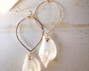 Seashell Earrings, Hawaii Shell Hoops, Hammered Gold Marquis Hoops, Beachy Earrings, Unique Hawaiian Earrings,