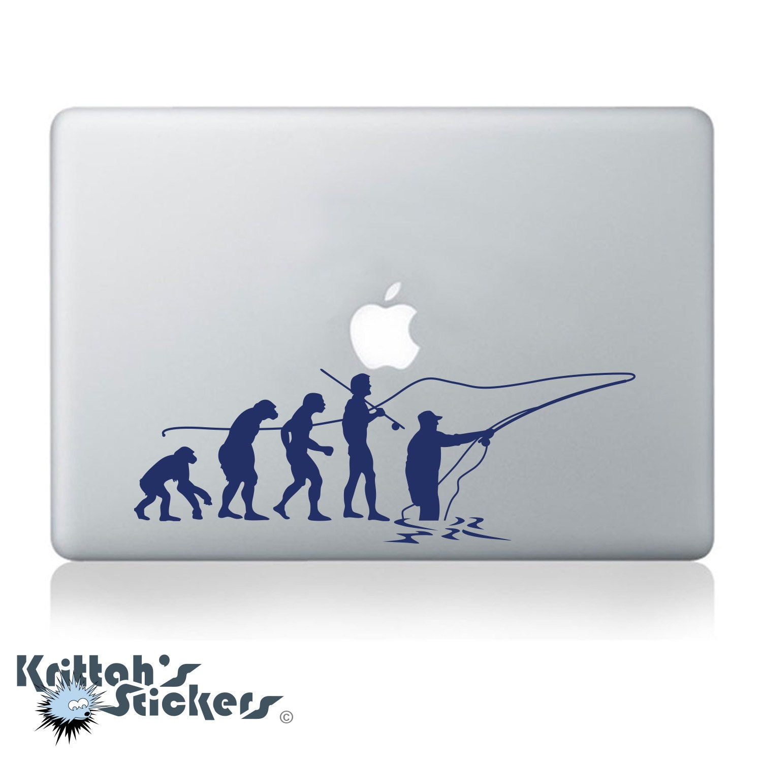 Evolution of fly fishing vinyl decal fits car window laptop for Fishing vinyl decals