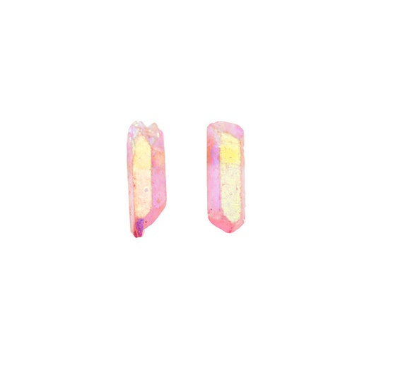 Crystal Point Earring Studs  - Aura Quartz Point Studs