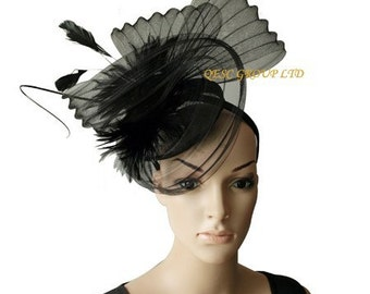 New design black sinamay crin fascinator with feathers and ostrich spine,for Kentucky derby,wedding party races
