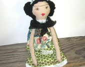 Frida Kahlo Rag Doll - Recycled and Vintage Textiles - Handmade Cloth Rag Doll