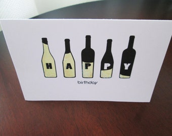 White Wine Bottles  -  Happy Birthday Card