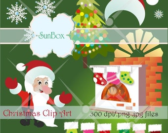 Christmas clipart Fireplace Stockings ClipArt Images for cards, scrapbooking  - instant download - CU OK