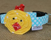 Easter Dog Collar - Yellow Dot Easter Chick on Blue Dot Collar