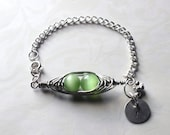 Green Peapod Bracelet- Personalize- Initial , Handstamped-Express Yourself - Handcrafted, Wirewrapped