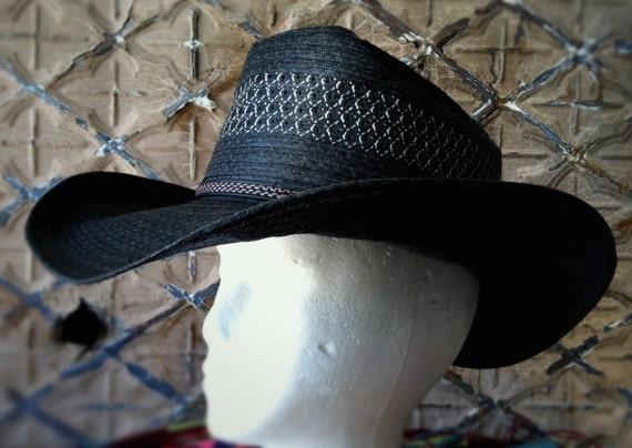 vintage rockstar western hat summer straw. Black Bedroom Furniture Sets. Home Design Ideas