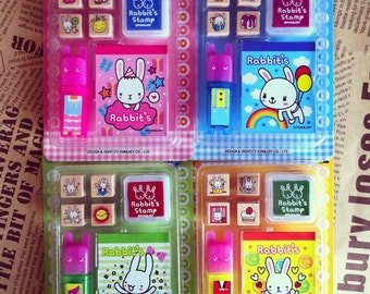 Rabbits Rubber Stamp Sets(with ink pads) - Korean Stamp - Wood Stamp - Diary Stamp - Deco Stamp - 4 Styles in
