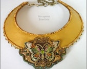 Spring glow - Leather necklace with brass enameled butterfly, bead embroidered