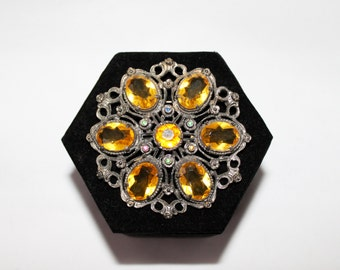 1930s Little Nemo Citrine Cut Glass Filigree Brooch