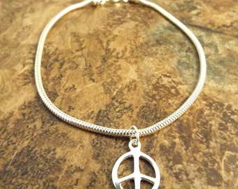 Sterling Silver Peace Sign Charm  on a Sterling Silver Slim European Charm Bracelet (0864/1429)