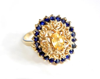 14K Gold Sapphire Engagement Ring Blue and Yellow Kanchanaburi Gems Heart Filigree Ring Size 5/6 SALE Coupon Sparkle2017 For 15% Discount