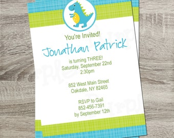 Printable Birthday Party Invitation - Blue & Green Dinosaur Boy or Girl Birthday 5x7 Invitation