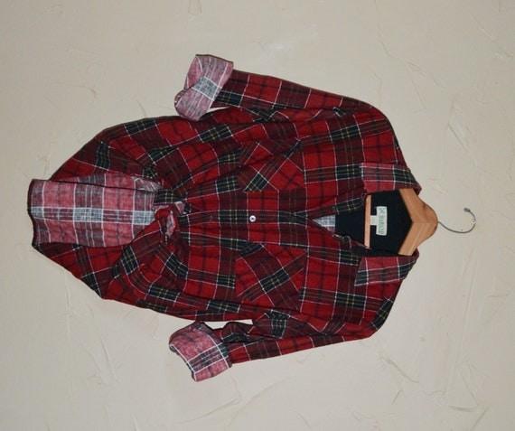 Vintage plaid flannel shirt 80s red black lumberjack grunge for Flannel shirt red black