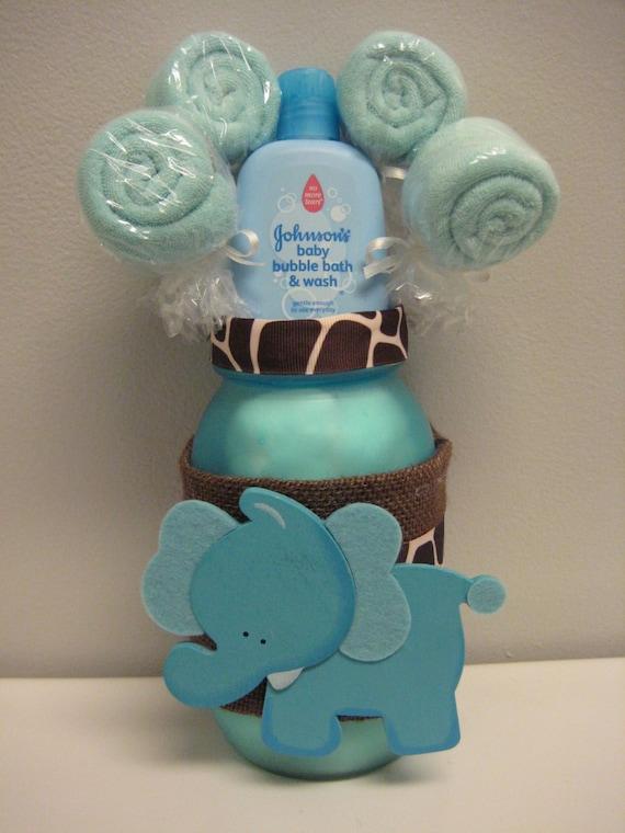 baby shower elephant mason jar safari centerpiece washcloth lollipop