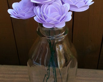 Paper Flower Bouquet - 6 Small Lavender Purple Mums - Handmade Paper Flowers for Brides, Weddings, Showers, Birthdays, Mother's Day