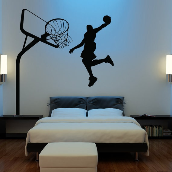 Huge basketball wall decal decor art stickers by happywallz for Basketball mural wallpaper