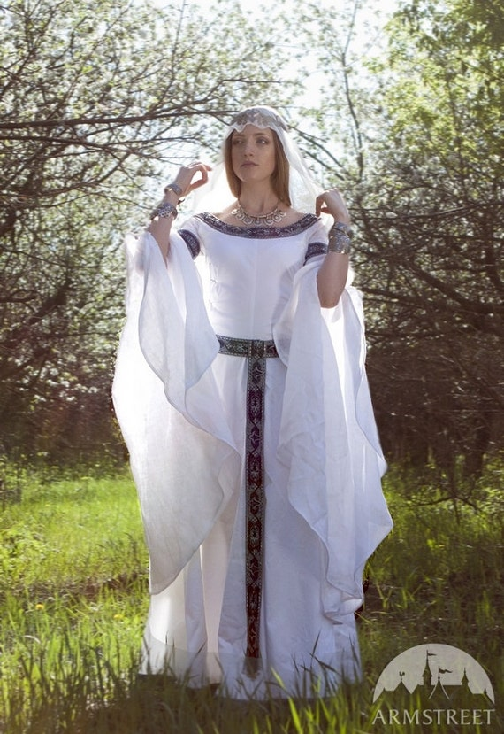 medieval fantasy wedding dress white swan