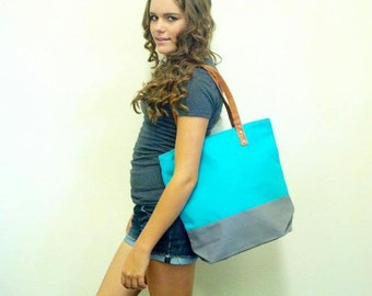 Custom Embroidery Color Block Tote Cotton Canvas Teal and White