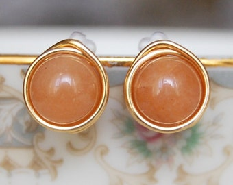 Dark Peach Studs ,  Bridesmaid Earrings , Apricot Earrings , Gold Wire Wrapped Post Earrings