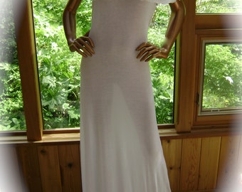Lingerie Nightgown in Natural White Rayon/Lycra with Matching Trim