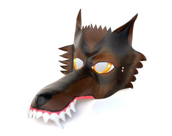 Wolf Leather Mask Brown Animal Werewolf  Wild Savage Halloween Costume Party Mardi Gras Masquerade Children Adult Little Red Riding Hood