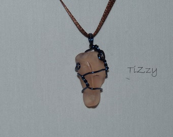 Pink Beach Glass w/ Blue Wire Wrapped Necklace Pendant