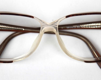 Vintage Oversize Womens Prescription Glasses with Marble Brown Arms and Frames Flexible Spring Hinges MONICA