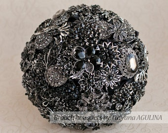 Brooch bouquet. Black and Silver wedding brooch bouquet, Jeweled Bouquet. Made upon request