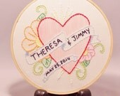Tattoo style hand embroidered wedding gift heart and flowers floral wall art