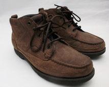 "Rare 80's Vintage ""ROCKPORT"" Brown Leather Boots Sz: 8.5 (Men's Exclusive)"