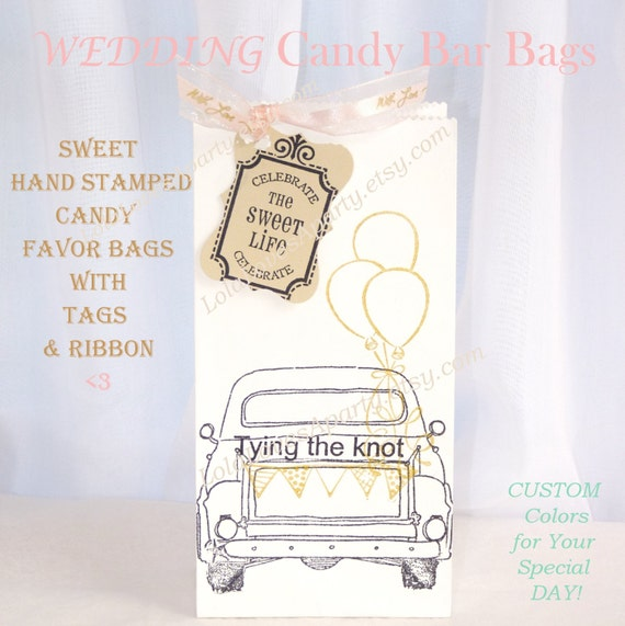 Items Similar To Wedding Candy Bar Bags Custom Stamped FAVOR Bags 15 Fancy Bags Ribbon AmpTags