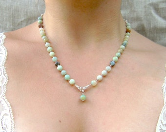 Amazonite Necklace - Elegant and Colorful - Beaded Necklace - Unique Jewelry - Statement Necklace
