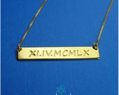 Engraved Roman Numeral Date Necklace, Gold Bar Necklace, Nameplate Necklace