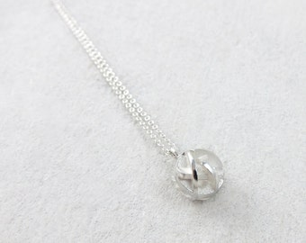 Dainty 3D printed sterling silver ball pendant on fine chain - Negative/Positive necklace