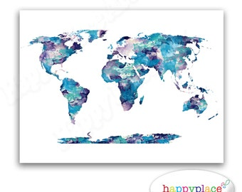 World map art etsy dark blue aqua and purple watercolor world map poster print suit home or babys sciox Choice Image