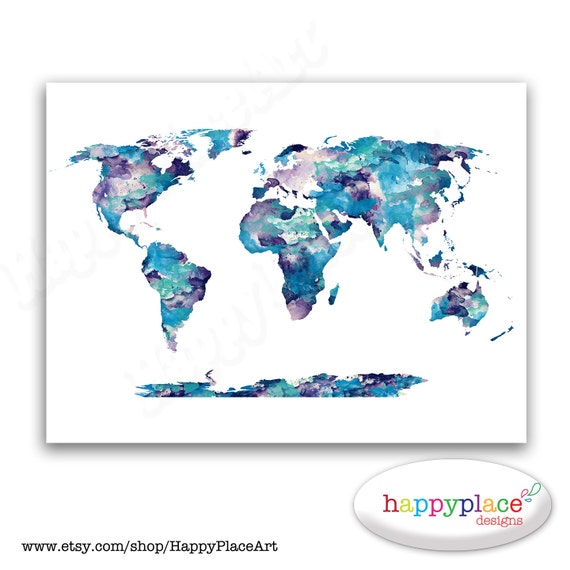 Map of the world art print 16x23 original watercolor painting dark blue aqua and purple watercolor world map poster print watercolor world map poster gumiabroncs Gallery