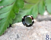 Black Spinel Ring, Black Diamond Alternative, Promise Ring, Wedding Ring Set, Bridesmaids Gifts, Sterling Silver