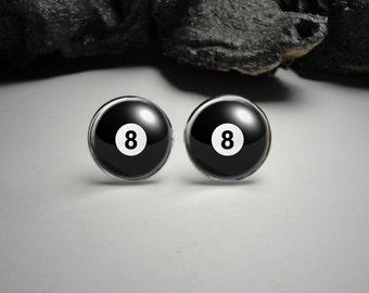 Billiard Pool Cuff Links 20mm/ Black Eight Ball Cufflinks for Him/Men Gift/Gift for Him Billiars Game Cufflinks