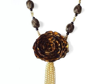 Leopard Print Fabric Flower Necklace, Unique Jewelry, Flower Fabric Necklace, Tassel Necklace, Modern Chic Necklace *Handmade*