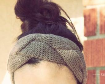 Braided Knitted Headband, Knit Headband, Knit Beanie, Turban, Cute Turban Headband, Ear Warmer, Winter Hairband