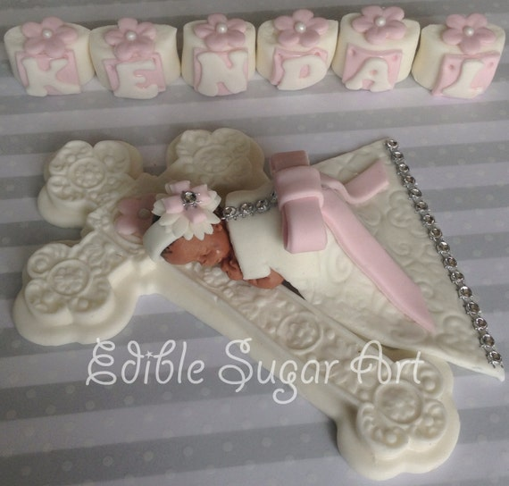 CHRISTENING CAKE TOPPER Baby Girl First birthday Baby Shower