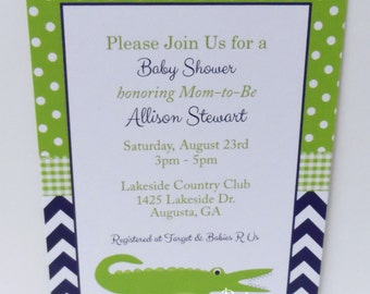 Alligator Invitation-Navy Green Alligator Baby Shower Invitation-Printable Alligator Invitation-Alligator Invite-Boy Baby Shower Invitation-