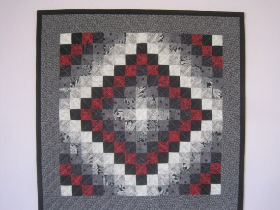 Red white black and shades of gray art quilt wall hanging for Black white and gray quilt patterns