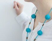 textile necklace blue long beads handmade necklace thread cotton for women lace textile wooden beads natural
