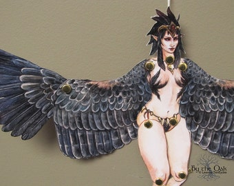 Harpy Paper Doll Kit Unassembled Classical Mythology Bird Creature Pinup Articulated Paperdoll