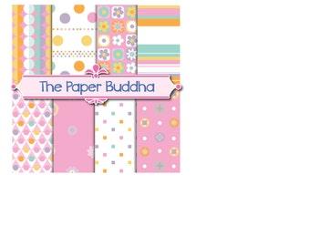 Festive Pink Digital Paper, 8 12X12 jpg instant download