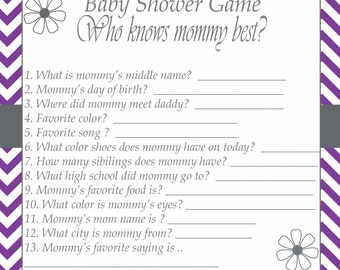 baby shower game printable instant download who know 39 s mommy best