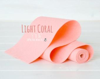 "100% Merino Wool Felt Roll- 5"" x 36"" Roll- Wool Felt Color Light Coral-4120 - Light Coral Wool Felt -  Pure Merino Wool Felt - Light Coral"