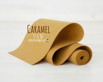 """100% Merino Wool Felt Roll  - 5"""" x 36"""" Wool Felt Roll - Wool Felt Color Caramel-7110 - European Wool Felt - Merino Wool Felt - Caramel felt"""