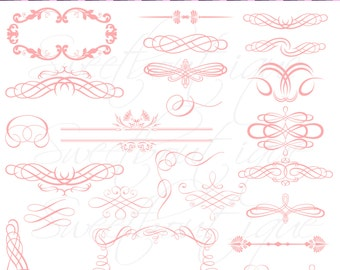 Digital Frames Pink Clipart Ornate DIY Engagement Wedding Invitation 0477